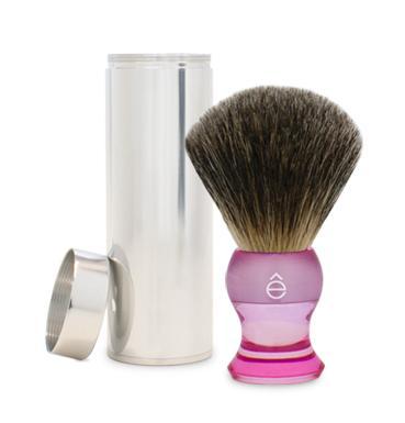 Travel Shaving Brush Fine Badger, Pink Handle